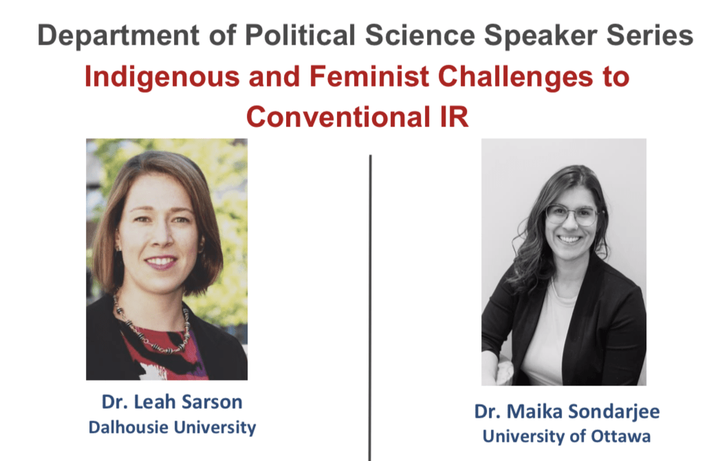 The promotional poster for the event featuring Dr. Leah Sarson and Dr. Maika Sondarjee